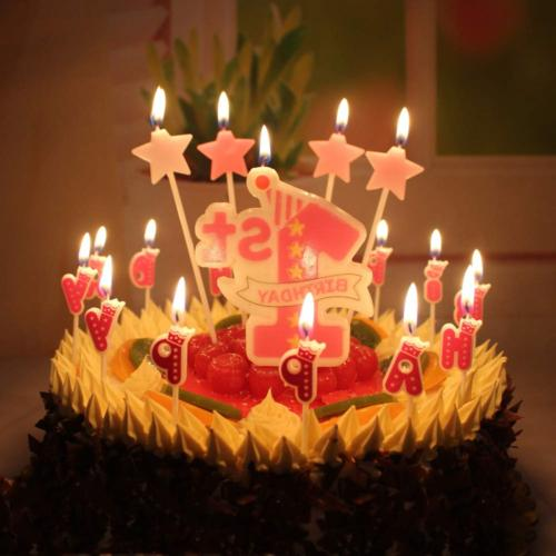 T-shin 1st Birthday Cake Candle,Cute Stars with Letters Cand