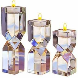 Large Crystal Candle Holders Set Of 3, 4.6/6.2/7.7 Inches He