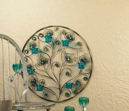 large teal blue turquoise Peacock feather wall sconce sculpt