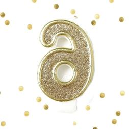 light gold glitter 6th birthday candle number