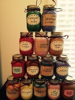 Homemade Hand Poured Soy Wax 16oz Mason Jar Candles highly S