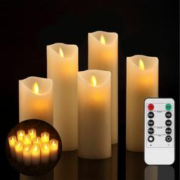flameless candles ivory led real wax pillar
