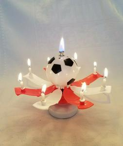 """Magical Birthday Candles Soccer Ball """"Trophy Style"""" Red & Wh"""