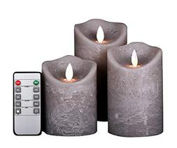 Kitch Aroma Marble Grey Color flameless candles 3 x 4/5/6inc