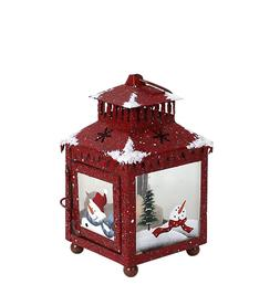 Metal Candle Holder Lantern with Hand painted Christmas Snow