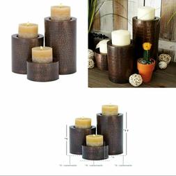 Metal Candle Holder Set of 3 Bronze For Table Decor Home Ham