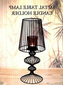 INTERIORS DESIGN METAL SCROLL TABLE LAMP CANDLE HOLDER,W/ SM