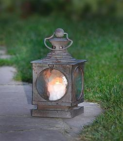Metal Square Hanging Candle Lantern, Curved Glass Insert Pro