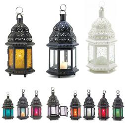 """Moroccan Style 10.2""""-15"""" CANDLE LANTERN Pressed Glass Blue A"""