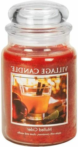 Village Candle Mulled Cider 26 oz Glass Jar Scented Candle,