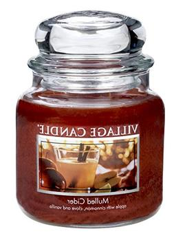 Village Candle Mulled Cider 16 oz Glass Jar Scented Candle,