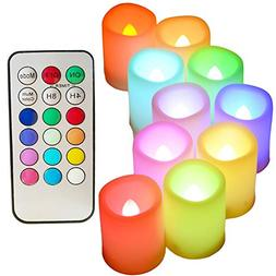 Colored Flameless Candles with Timer and Remote Control - SW