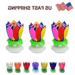 Musical Birthday Cake Candle Lotus Flower Floral Rotating ca