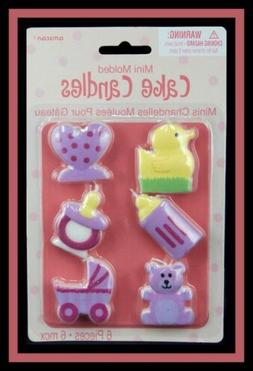 NEW! Amscan ***BABY GIRL CANDLE SET*** 6 ct. NIP #179457