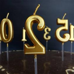 New Birthday Candles Cake Accessories Metallic Gold 0-9 Numb