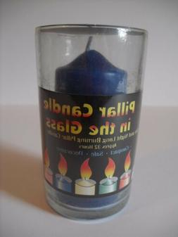 """NEW! Blue 4"""" Decorative Pillar Candle in the Glass Jar - Gre"""