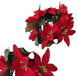 """New Microfiber Red Poinsettia 6.5"""" Candle Rings 3-1/2"""" openi"""