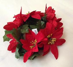 """New Red Microfiber Poinsettia Candle 6.5"""" Ring Pillar Taper"""