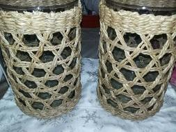 New set of 2 large beautiful pillar candle holders. Excellen