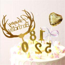 Number 0-9 Happy Birthday Cake Candles Gold Topper Decoratio