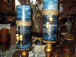 TRIPLE LAYERED VARIEGATED PILLAR CANDLE HIGHLY SCENTED U-PIC