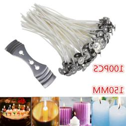 100Pcs Pre Waxed Candle Wicks for Candle Making With Sustain