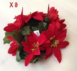 """Red Microfiber Poinsettia Candle 6.5"""" Ring Pillar Taper Chr"""