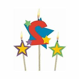 Amscan Party Time Stars and Number 2 Celebration Candle on a