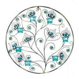 New Peacock Plumes Circular Wall Sconce Candle Holder Tealig