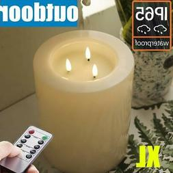 Large Outdoor Battery Operated Pillar Candles With Remote an