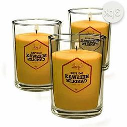 Pure Beeswax Votive Candles, 3 Pack Yellow Unscented Decorat