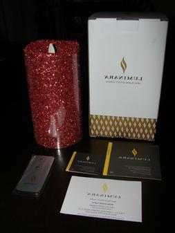"""Luminara Real Flame-Effect Flameless Candle 7"""" Glitter Red w"""
