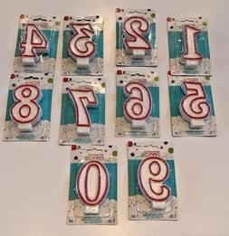 Red and White Number Birthday Candles NEW