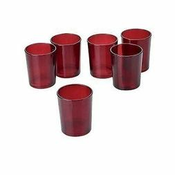 Red Frosted Glass Round Votive Candle Holders  Red