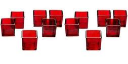 Red Glass Square Votive Candle Holders Set Of 12 VALENTINE's