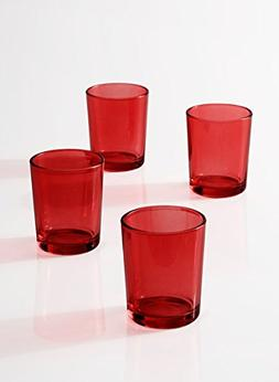 Serene Spaces Living Red Glass Votive Candle Holders - Ideal