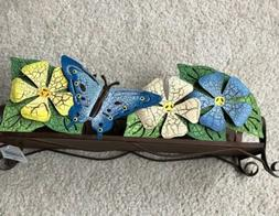 Rustic Metal 6 Inch Candle Stand Flower Butterfly Farm Summe