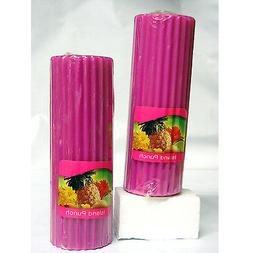 Scented Pillar Candles Island Punch 6-Piece Ribbed Pink 6 In
