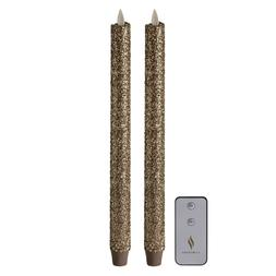 Luminara Set of  12'' German Glitter Taper Candles with Remo