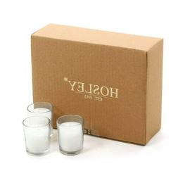Hosley Set of 24 Unscented Clear Glass Wax Filled Votive Can