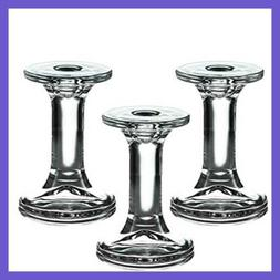 Set Of 3 Glass Candle Stick Holders Round Taper Candles Hold