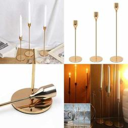 Set Of 3 GOLD Brass Candle Holders For Taper Candles Decorat