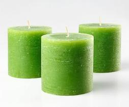 """Set of 3 Green Pillar Candles 3"""" x 3"""" Unscented Handpoured f"""