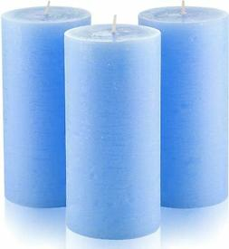 "Set of 3 Light Blue Pillar Candles 3""x 6"" Unscented for Wedd"