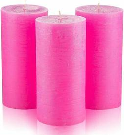 Set of 3 Pink Pillar Candles 3 x 6 inch Unscented Dripless f