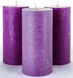 """Set of 3 Purple Pillar Candles 3"""" x 6"""" Unscented Handpoured"""