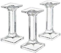 set of 3 square taper glass candle