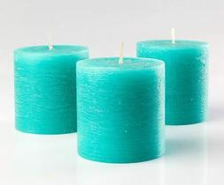 """Set of 3 Turquoise Pillar Candles 3"""" x 3"""" Unscented Rustic f"""