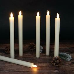 Set of 6 Flameless Candles Window Taper Candles with Timer a
