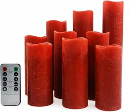 🏆Set Of 9 Flameless Pillar  Candles Wick LED Timer Remote